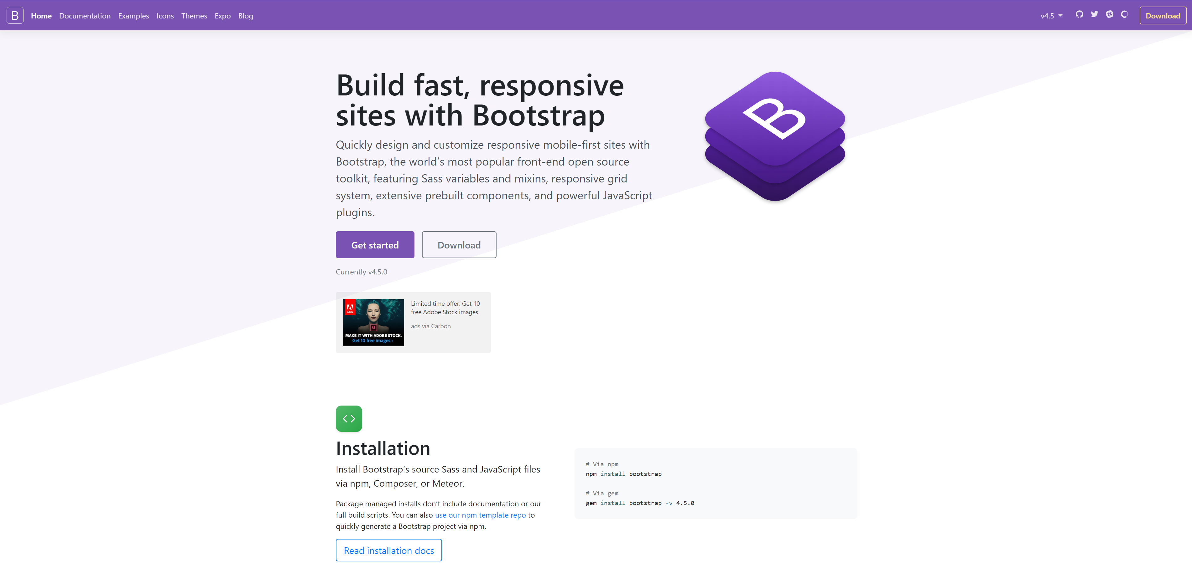 The landing page of Bootstrap. a front-end development framework