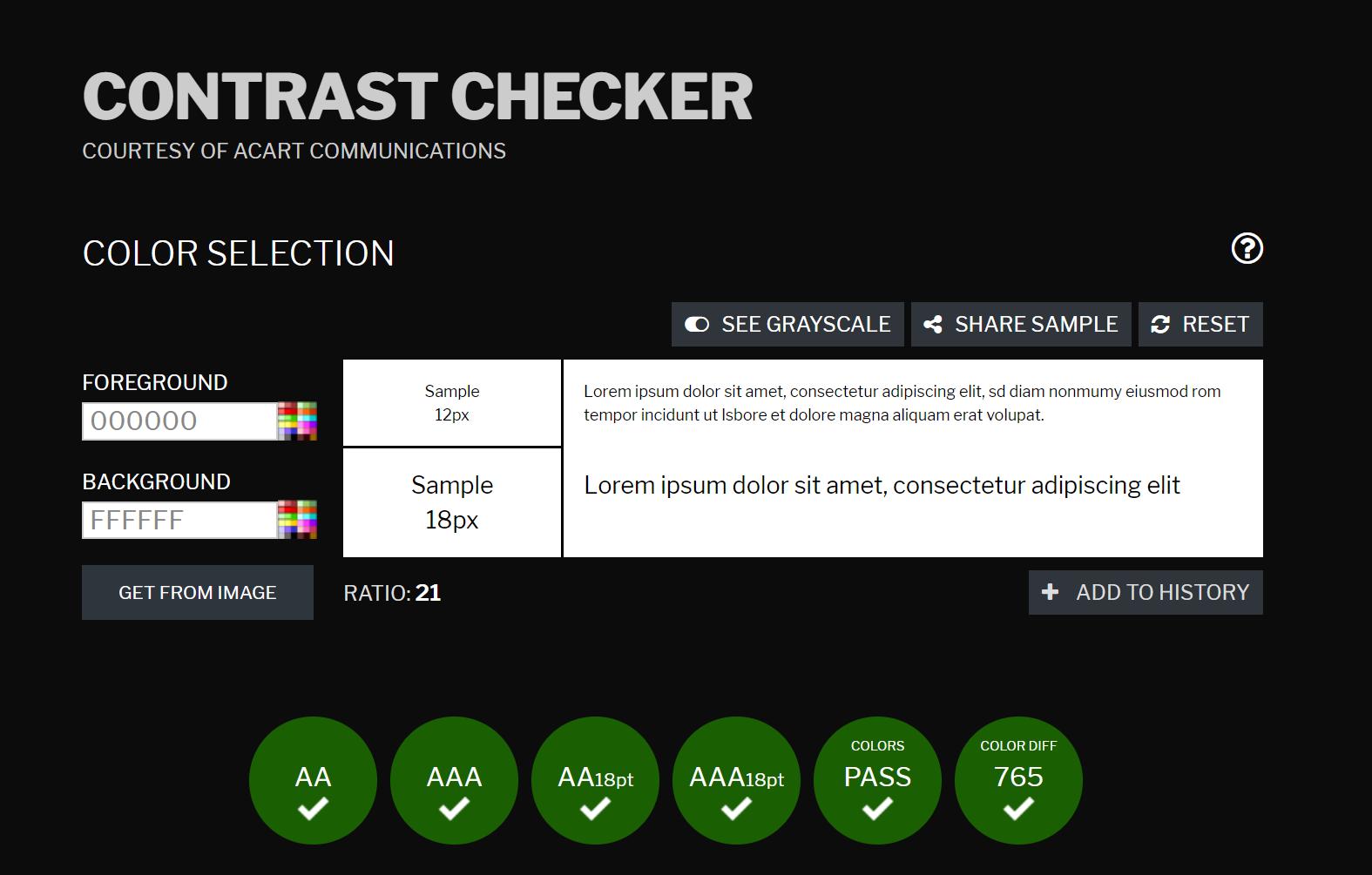The user interface of contrastchecker.com