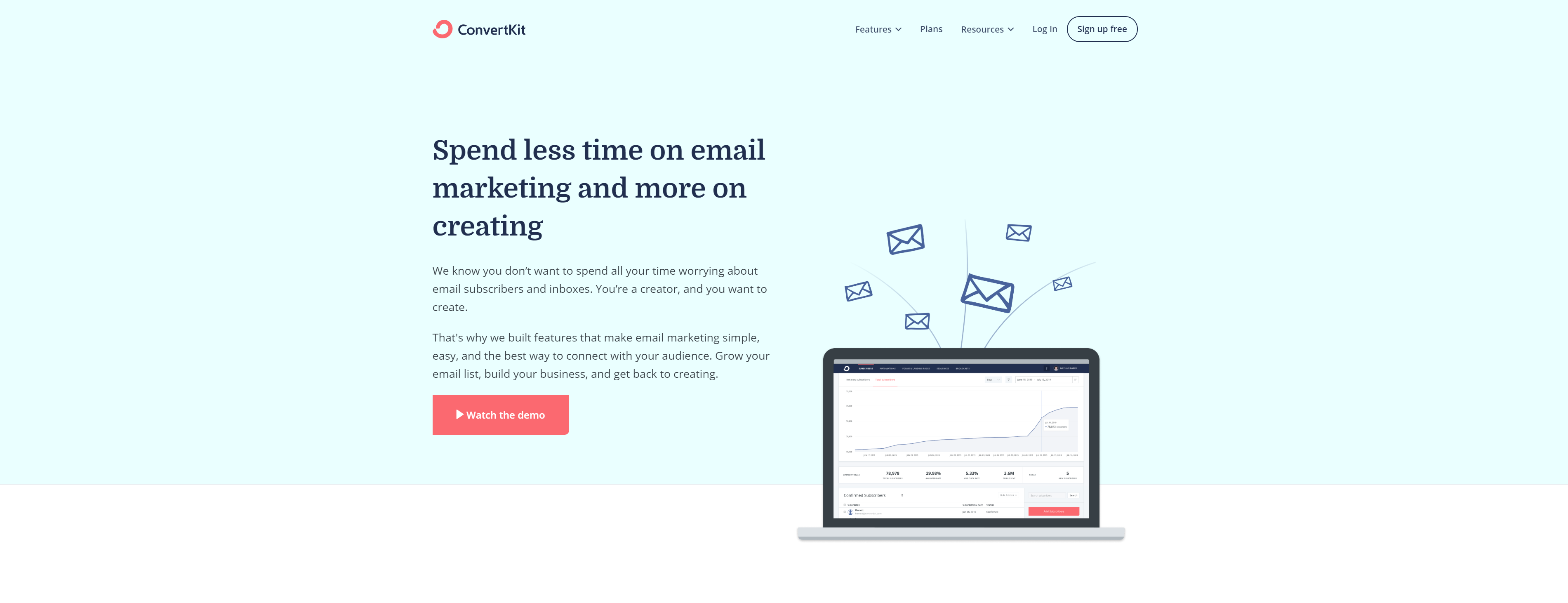 The landing page of ConvertKit