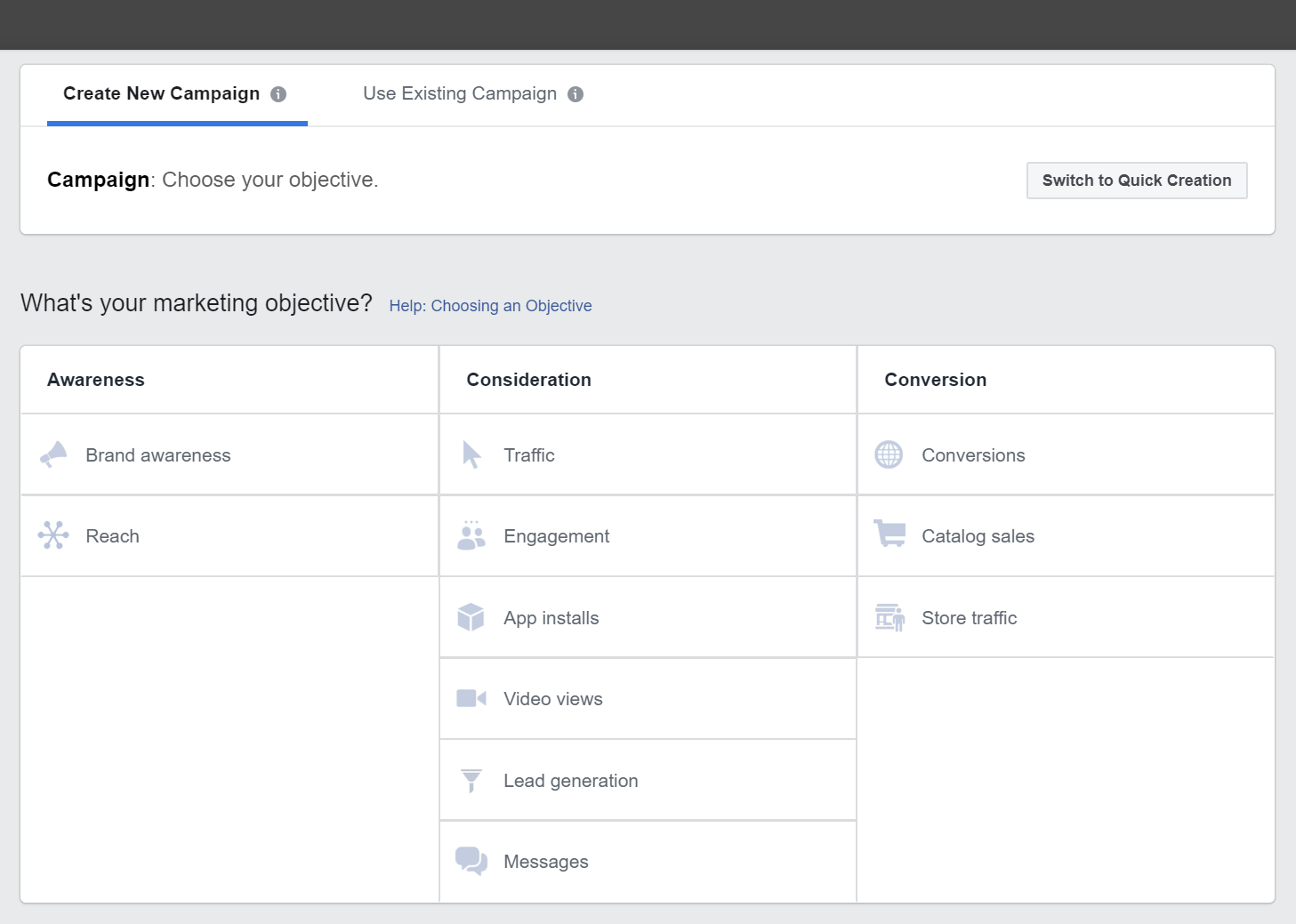 The user interface of Facebook Ad Manager when setting up campaign objectives