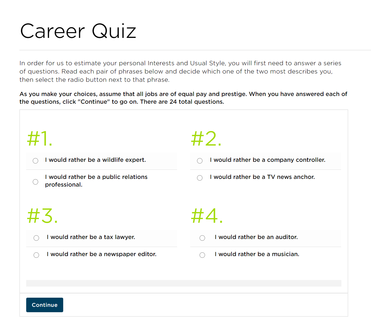 Screenshot of an online quiz about career pathways