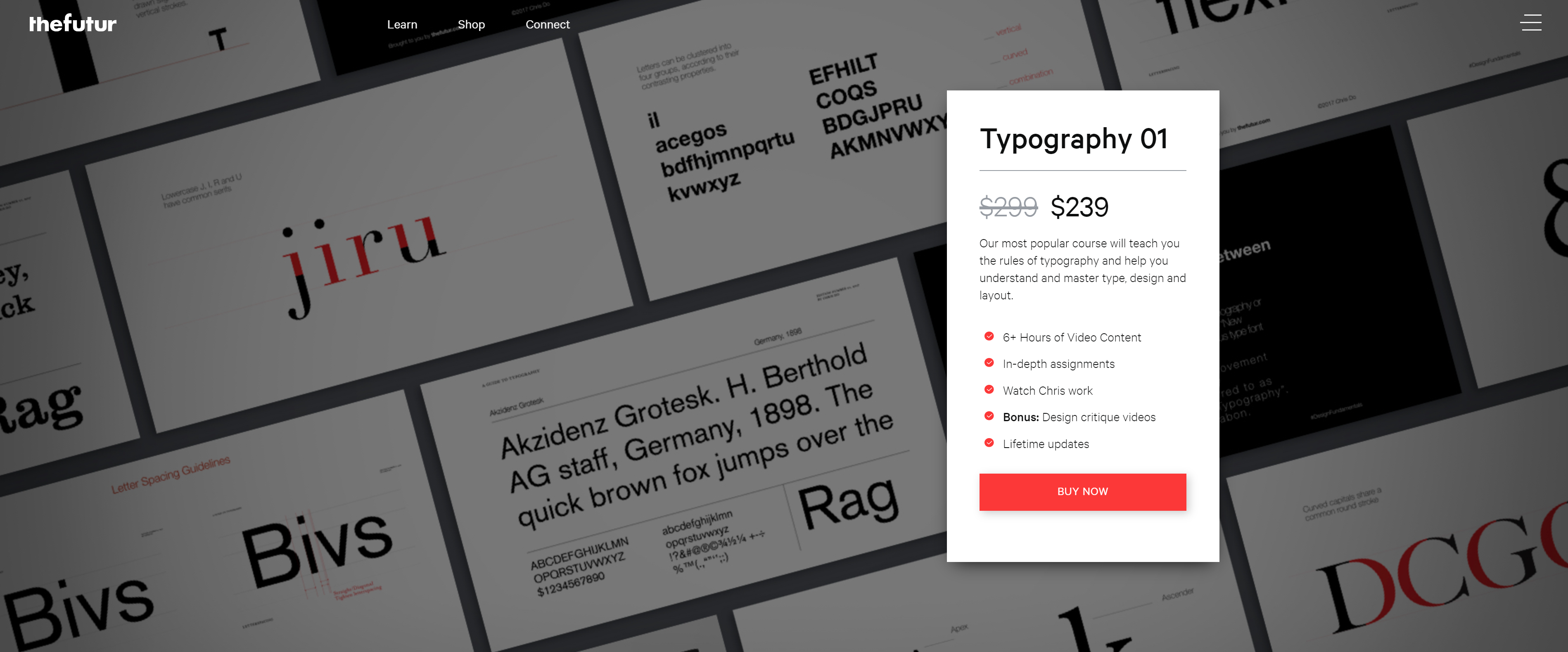 The purchase screen of The Futur's website about a typography course