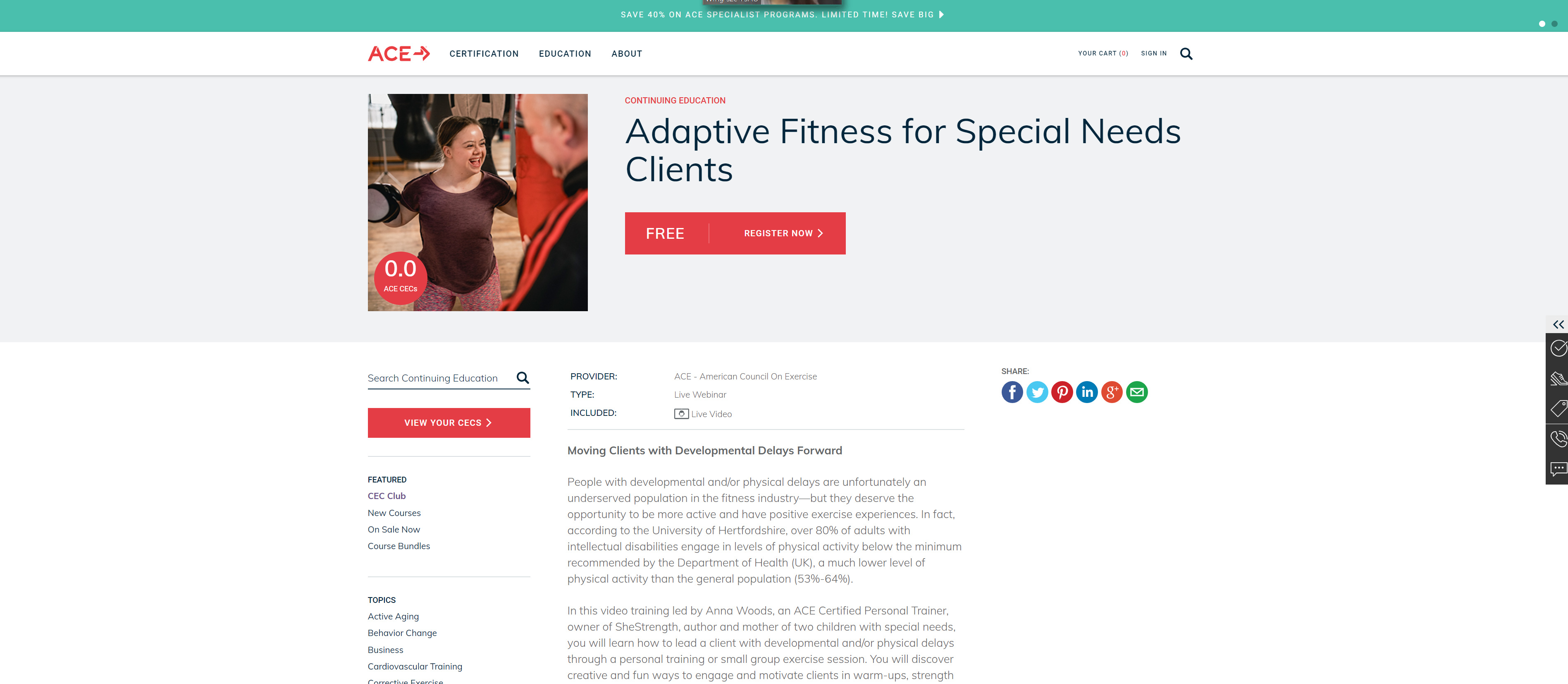 A free webinar hosted by Ace about fitness