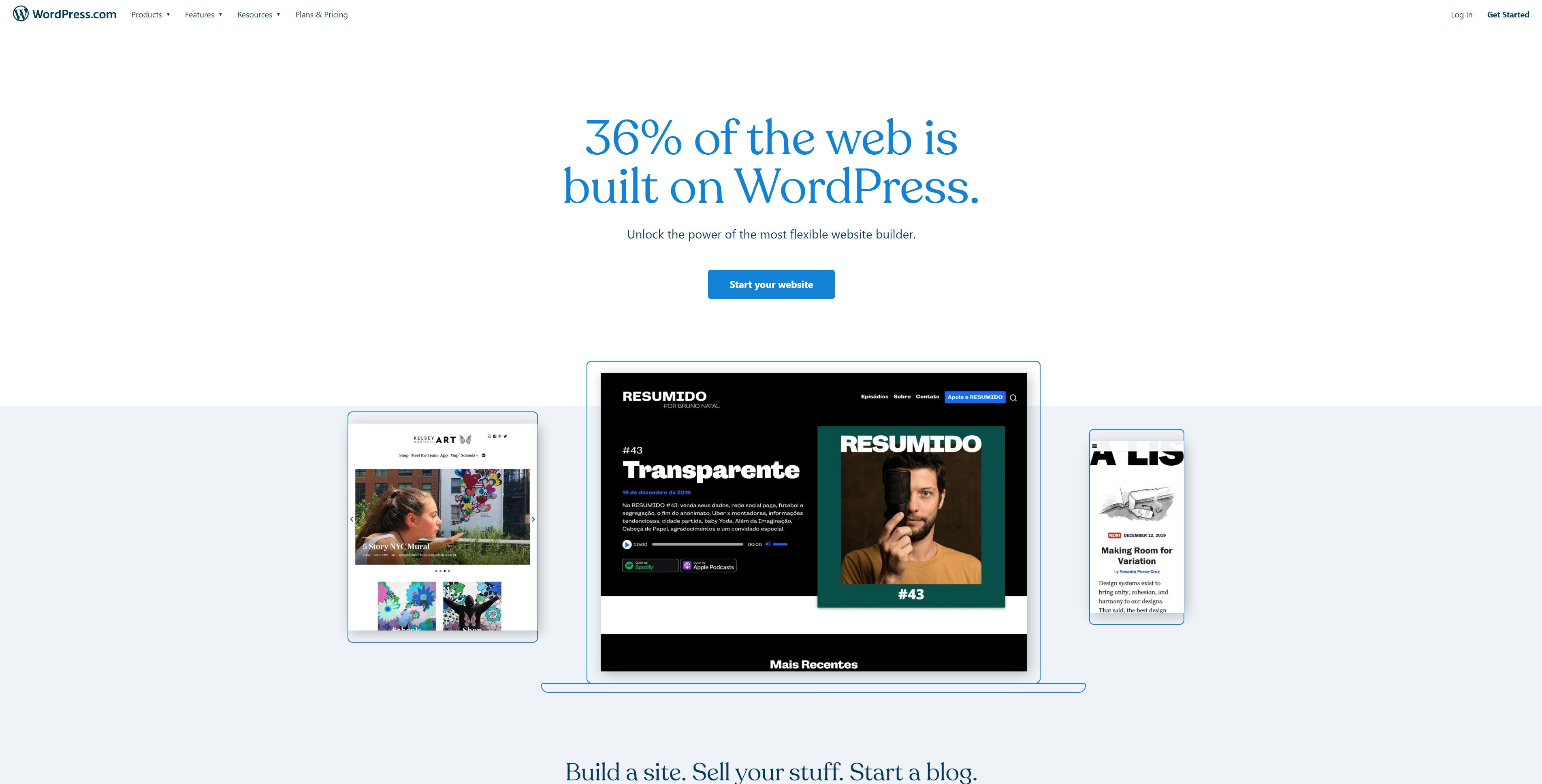 Screenshot showing the website of wordpress.com