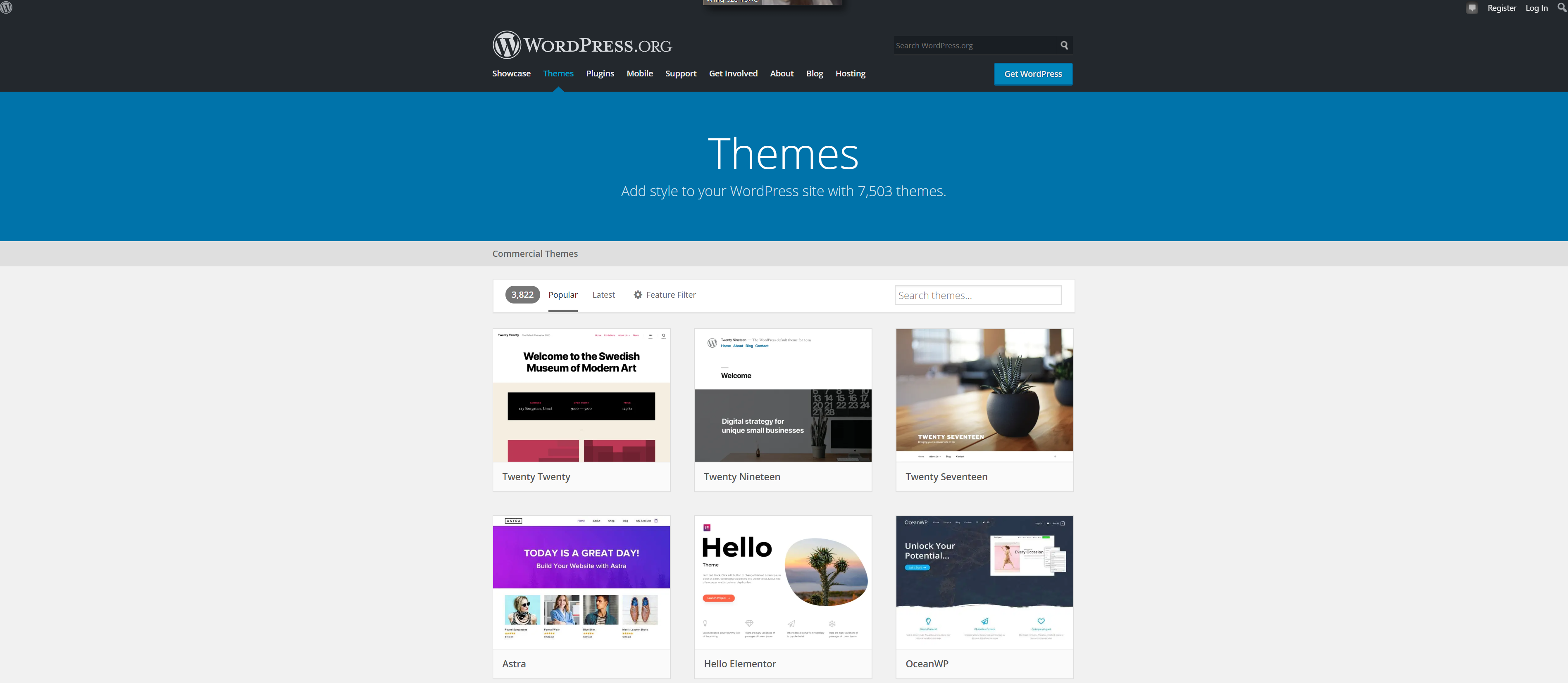 Themes hosted on wordpress.org