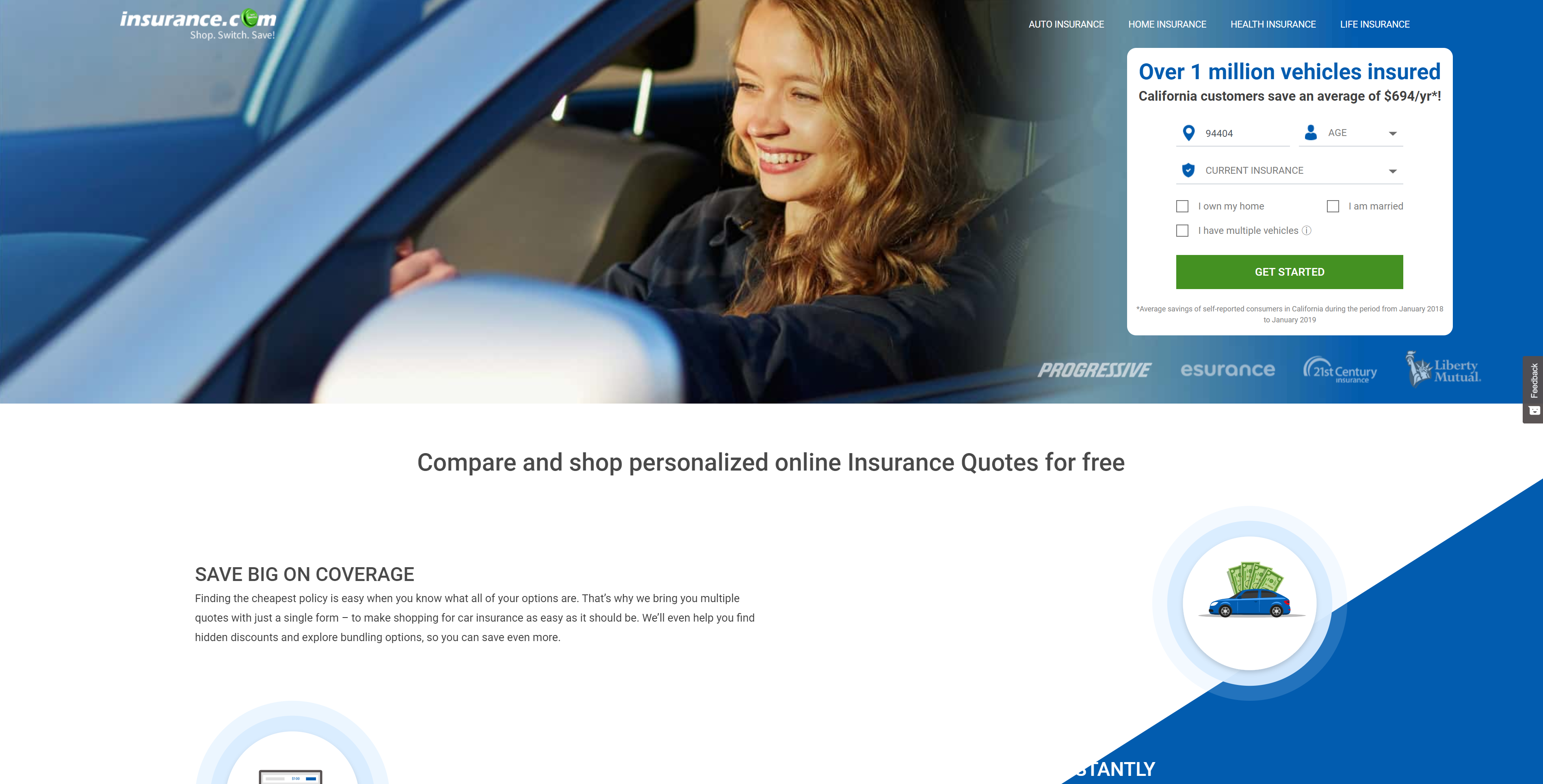 Screenshot featuring the homepage of insurance.com
