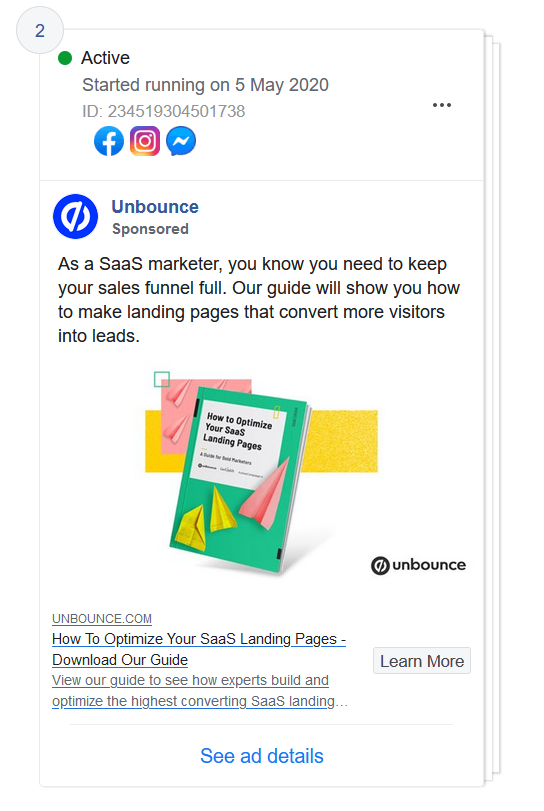 Facebook ad of Unbounce promoting a lead magnet